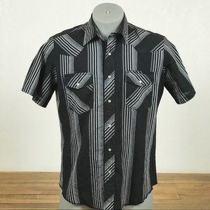 Vintage Blk/Gray Wrangler Men's Western Shirt Sz L